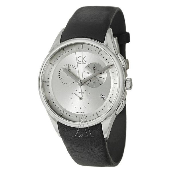 美國百分百【Calvin Klein】配件 CK 手錶 腕錶 金屬 計時 瑞士 石英 三眼 皮錶帶 男 F363