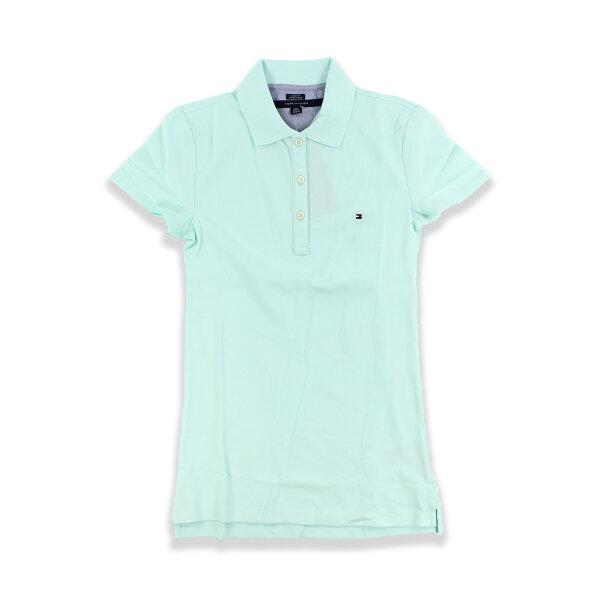 美國百分百【Tommy Hilfiger】POLO衫 TH 女衣 網眼 短袖 粉綠 腰身 顯瘦 純棉 XS S B102