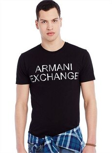 美國百分百【Armani Exchange】T恤 AX 短袖 上衣 logo 文字 T-shirt 黑色 S號 F429