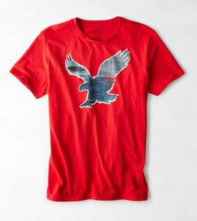 美國百分百【American Eagle】T恤 AE 短袖 上衣 T-shirt 老鷹 水墨 漸層 紅色 男 L號 F433