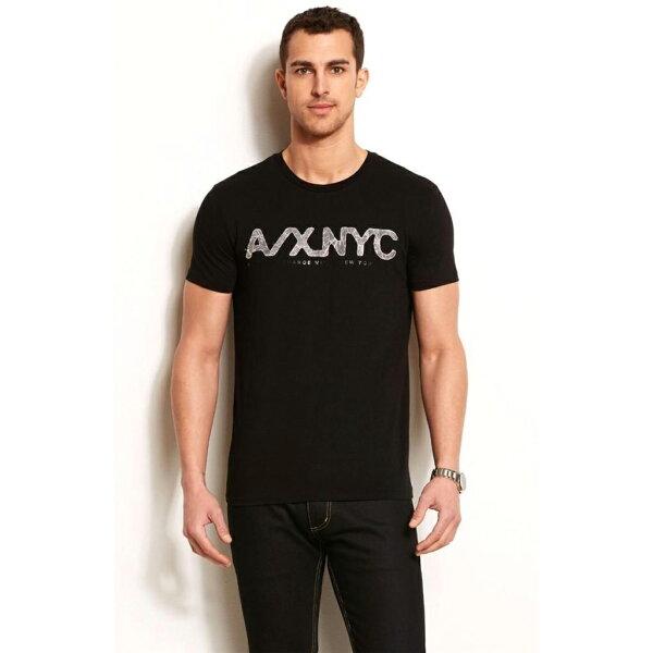 美國百分百【Armani Exchange】T恤 AX 短袖 上衣 logo 文字 T-shirt 米紙 黑色 S號 F458
