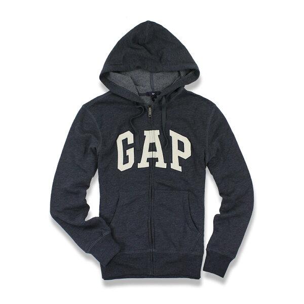 美國百分百【全新真品】GAP 外套 上衣 長袖 連帽 LOGO 貼布 刷毛 深藍色 現貨 男 L XL號 E927