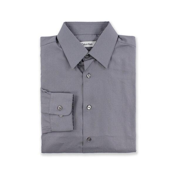 美國百分百【全新真品】Calvin Klein 襯衫 CK 男衣 上班 灰色 長袖 上衣 商務 專櫃款 M號 C615