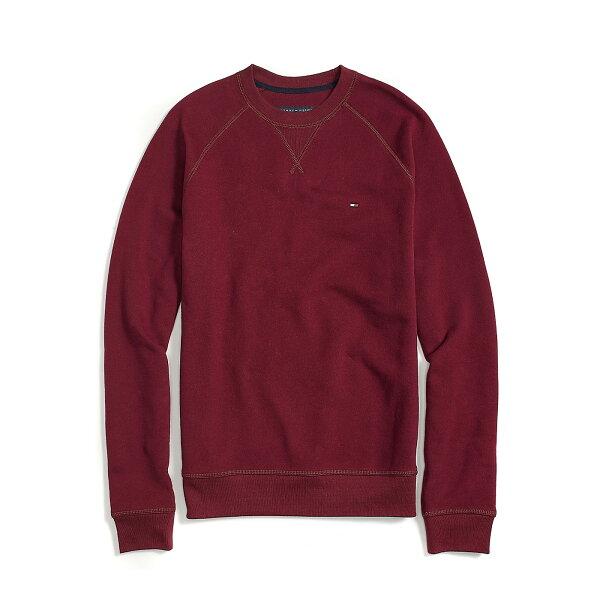 美國百分百【全新真品】Tommy Hilfiger 大學T 圓領 T恤 長袖 素面 TH 針織 酒紅 S號 F493