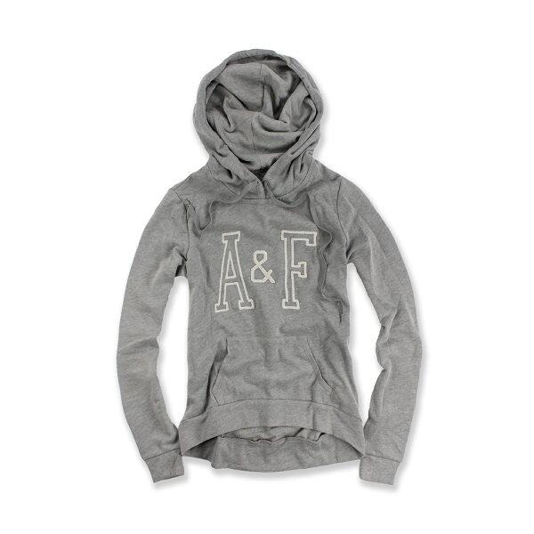 美國百分百【Abercrombie & Fitch】連帽 AF 帽T 麋鹿 logo 灰 長袖 女 XS S號 F505