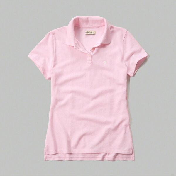 美國百分百【Abercrombie & Fitch】POLO衫 AF 短袖 麋鹿 上衣 女 粉紅色 S號 F521