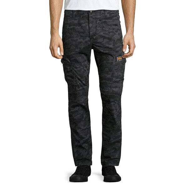 美國百分百【全新真品】Superdry 極度乾燥 工作褲 長褲 休閒褲 口袋 簡約 窄版 迷彩 黑灰色 S L XXL號 F524