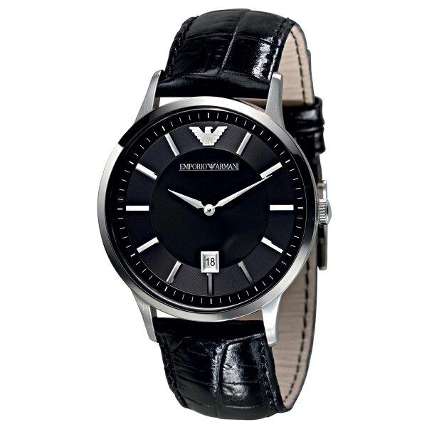 美國百分百【Emporio Armani】配件 手錶 腕錶 男錶 石英 老鷹 不鏽鋼 真皮 鱷魚皮壓紋 黑色 F525