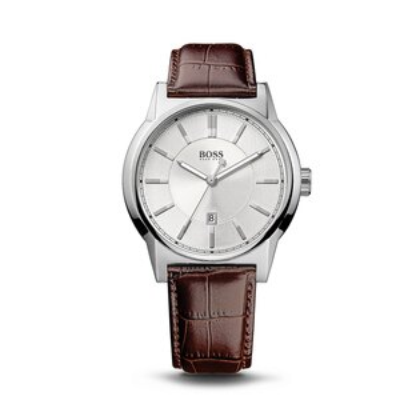 美國百分百【HUGO BOSS】配件 手錶 腕錶 男錶 鱷魚皮 壓紋 錶帶 不鏽鋼 石英機芯 紳士 雅痞 咖啡 F527