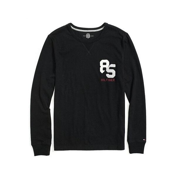 美國百分百【全新真品】Tommy Hilfiger 大學T 圓領 T恤 長袖 素面 TH 85 黑色 S號 F540