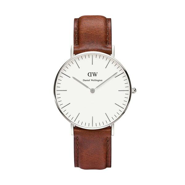 美國百分百【Daniel Wellington】DW St Mawes 手錶 男 女 腕錶 皮錶帶 銀框 咖啡