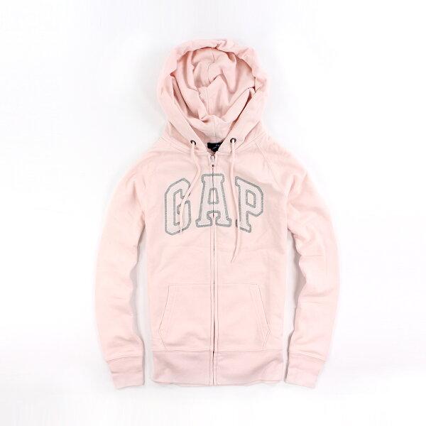 美國百分百【全新真品】GAP 外套 上衣 長袖 連帽 LOGO 貼布 現貨 女 XS S號 粉紅色 E926