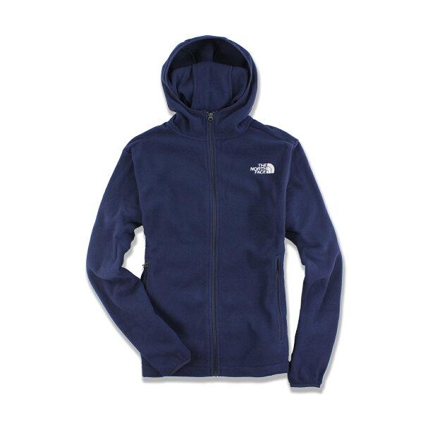 美國百分百【The North Face】防風 連帽 外套 TNF 保暖 刷毛 北臉 fleece 深藍 S號 F590