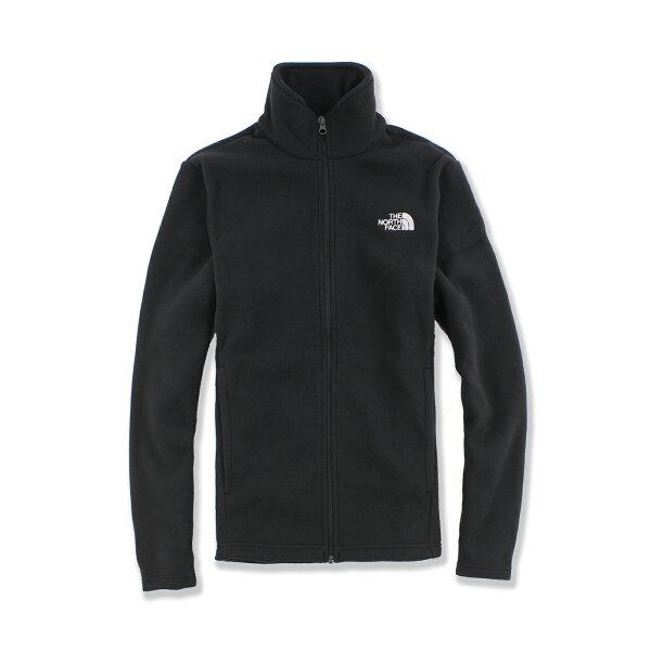 美國百分百【The North Face】防風 立領 外套 TNF 保暖 刷毛 北臉 fleece 黑 XS號 F591