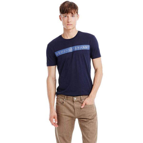 美國百分百【Armani Exchange】T恤 AX 短袖 logo 水鑽 T-shirt 深藍 L號 E810