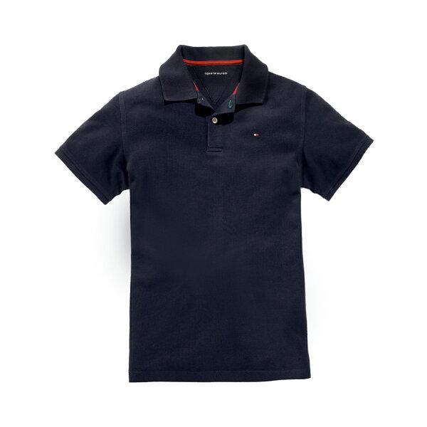 美國百分百【全新真品】Tommy Hilfiger Polo衫 TH 短袖 上衣 素面 網眼 深藍 XS號 F611