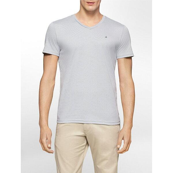 美國百分百【Calvin Klein】T恤 CK logo 短袖 T-shirt 短T 條紋 V領 灰白 修身 XS號 F620