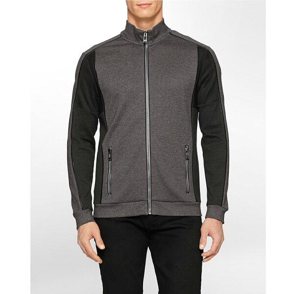 美國百分百【Calvin Klein】外套 CK 夾克 立領 騎士 修身 棉 尼龍 拼接 拼色 黑 鐵灰 S號 F627