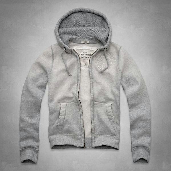 美國百分百【Abercrombie & Fitch】外套 AF 連帽 長袖 夾克 麋鹿 徽章 洗舊 灰色 特價 S L號 F668