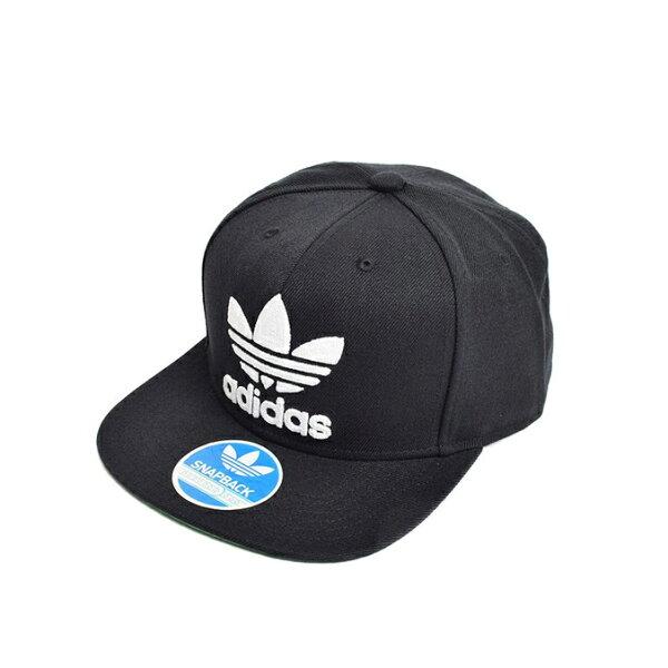 美國百分百【adidas】帽子 潮流 嘻哈 棒球帽 潮帽 Snapback 三葉草 平沿帽 愛迪達 男 女 黑 F676