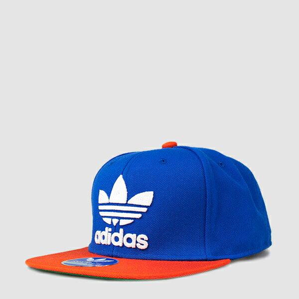 美國百分百【adidas】帽子 嘻哈 棒球帽 潮帽 Snapback 三葉草 平沿帽 愛迪達 男 女 藍色 橘 F676