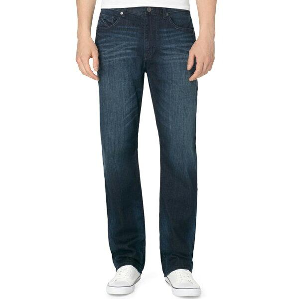 美國百分百【Calvin Klein】牛仔褲 CK 休閒褲 長褲 單寧 直筒 合身 男 藍色 刷色 抓紋 30 34腰 F690