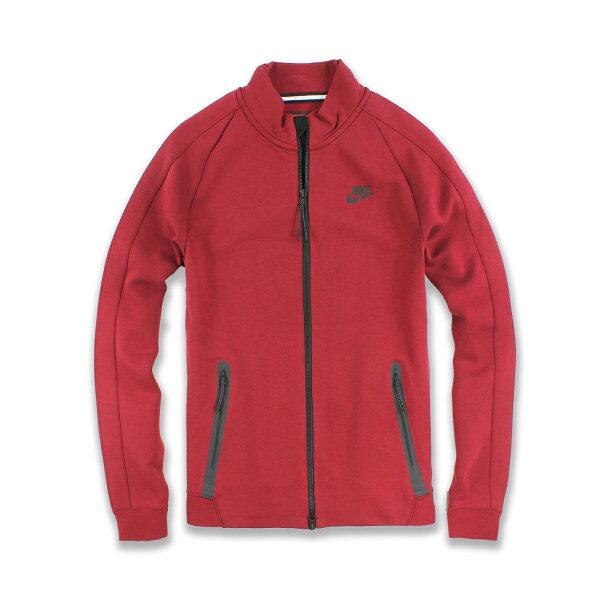 美國百分百【全新真品】Nike 立領 外套 耐吉 上衣 吸汗 排汗 透氣 運動 男 LOGO 酒紅色 S號 F728