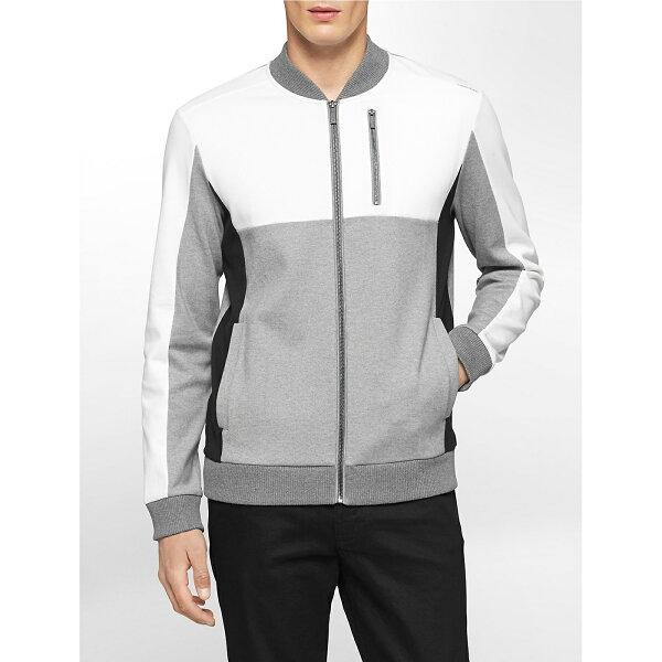 美國百分百【全新真品】Calvin Klein 外套 CK 夾克 拼接 棒球 騎士 布勞森 灰色 白色 M號 F751