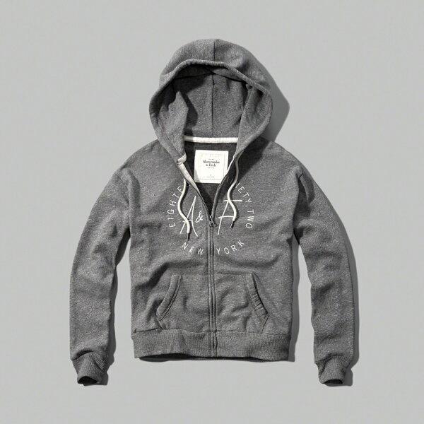 美國百分百【Abercrombie & Fitch】連帽 AF 外套 麋鹿 灰色 長袖 女 XS S號 特價 C815