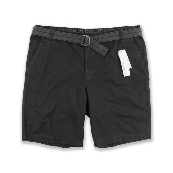 美國百分百【全新真品】Calvin Klein 短褲 休閒褲 五分褲 褲子 腰帶 CK 鐵灰色 大尺碼 40腰 F795