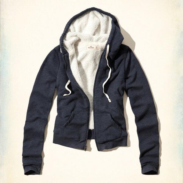 美國百分百【全新真品】Hollister Co. 外套 HCO 連帽 長袖 夾克 海鷗 刷毛 深藍 女 特價 XS M L號 F801