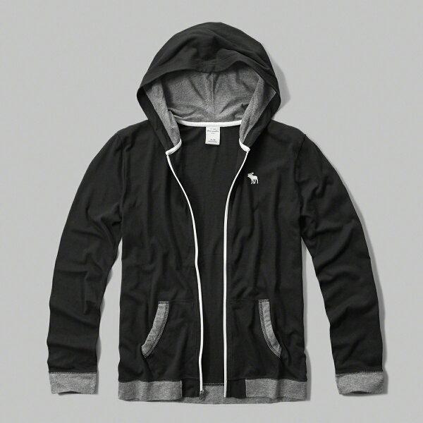 美國百分百【Abercrombie & Fitch】外套 AF 連帽 長袖 夾克 麋鹿 黑 滾邊 男 女 特價 XS S號 F802