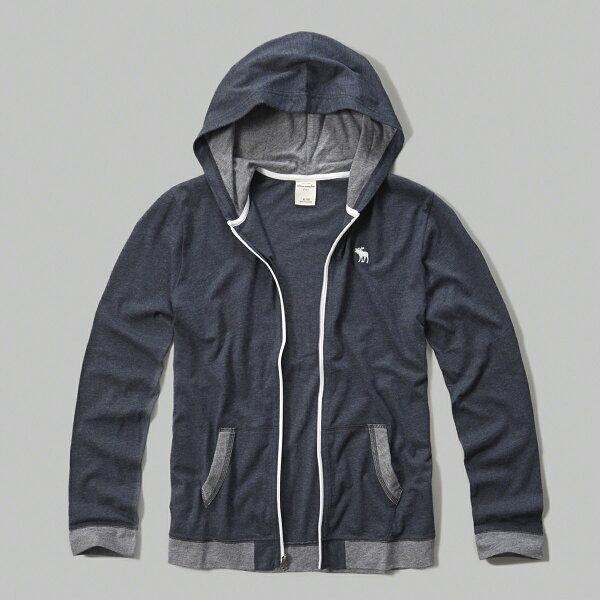 美國百分百【Abercrombie & Fitch】外套 AF 連帽 長袖 夾克 麋鹿 深藍 滾邊 女 特價 S號 F802