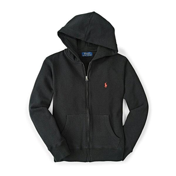 美國百分百【全新真品】Ralph Lauren RL 連帽 薄外套 棉質 帽T 夾克 黑 POLO XS S號 B038