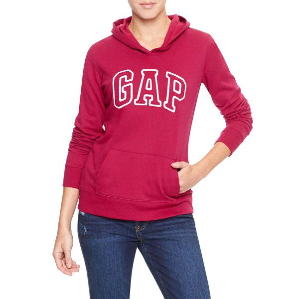 美國百分百【全新真品】GAP 帽T 上衣 外套 長袖 連帽 LOGO 貼布 現貨 女衣 XS號 桃紅色 E460