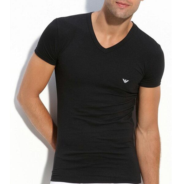 美國百分百【全新真品】Emporio Armani T恤 V領 短袖 logo T-shirt EA 素面 黑 XS號 F836