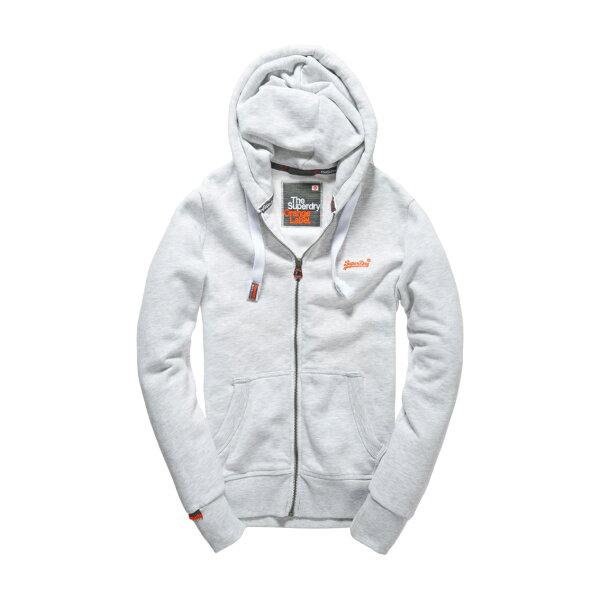 美國百分百【全新真品】Superdry 極度乾燥 連帽 外套 夾克 帽T 刷毛 拉鍊 經典款 灰白色 L XL號 F842