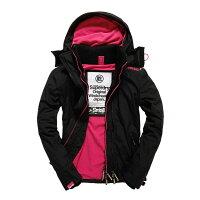 Superdry極度乾燥商品推薦美國百分百【全新真品】Superdry 極度乾燥 風衣 連帽 外套 防風 夾克 刷毛 黑色 粉紅 女 S號 F855