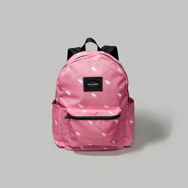 美國百分百【Abercrombie & Fitch】後背包 肩背包 帆布 外出包 AF 麋鹿 書包 女 粉紅 F894