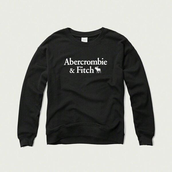 美國百分百【Abercrombie & Fitch】T恤 AF 長袖 T-shirt 大學T 女 XS S 黑 F897