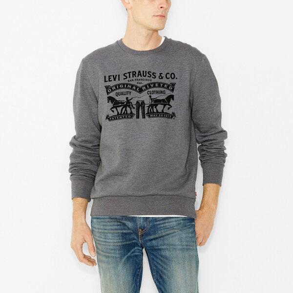 美國百分百【全新真品】Levis 長袖 T恤 logo 刷毛 T-shirt 上衣 大學T 經典 灰色 S號 F886