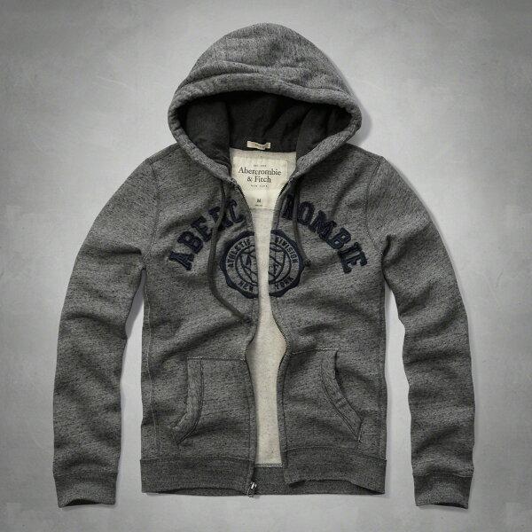 美國百分百【全新真品】Abercrombie & Fitch 外套 AF 連帽 夾克 麋鹿 麻灰色 S號 特價 F917
