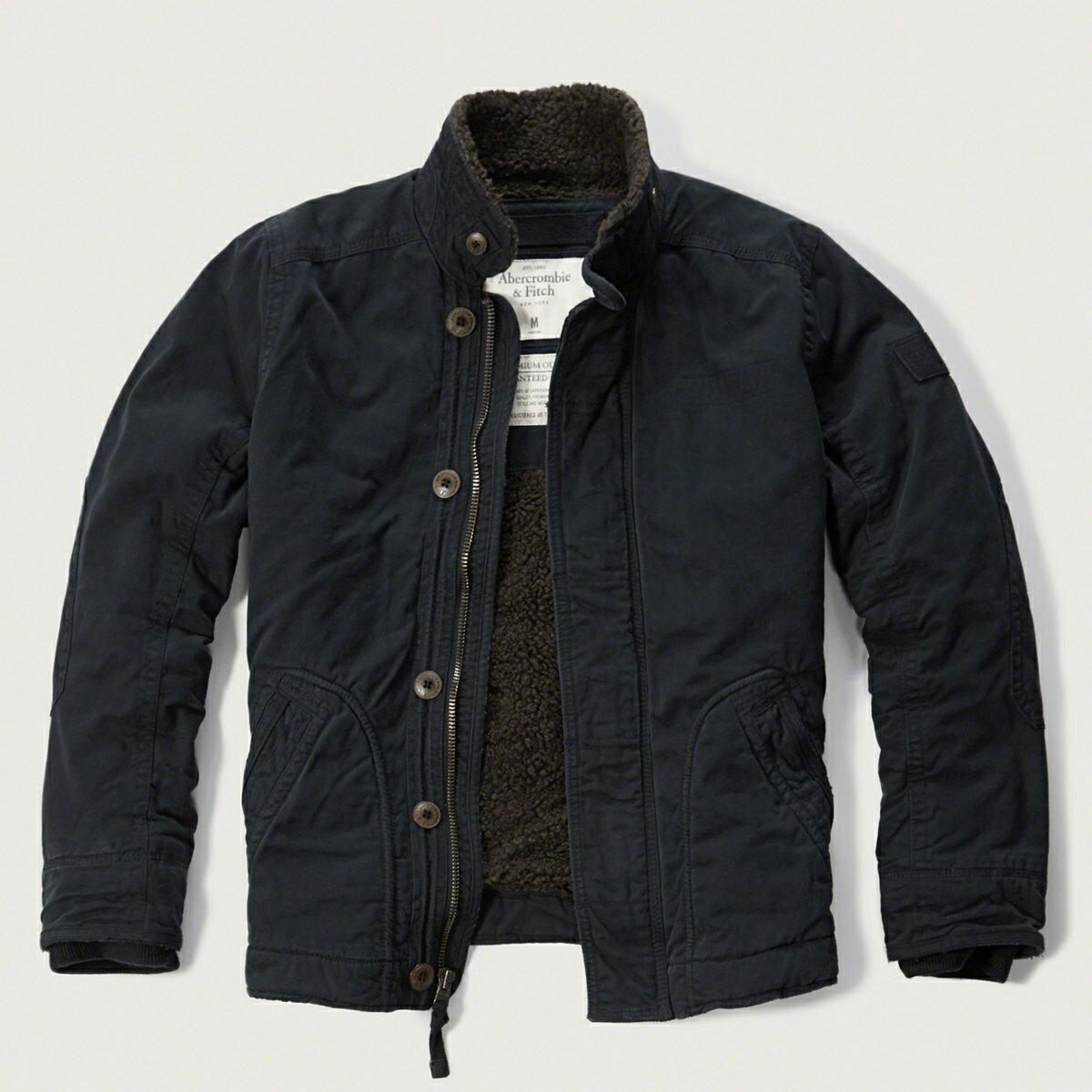 美國百分百【Abercrombie & Fitch】外套 AF 軍裝 夾克 麋鹿 鋪棉 刷厚毛 立領 深藍 S M L XL號 F971