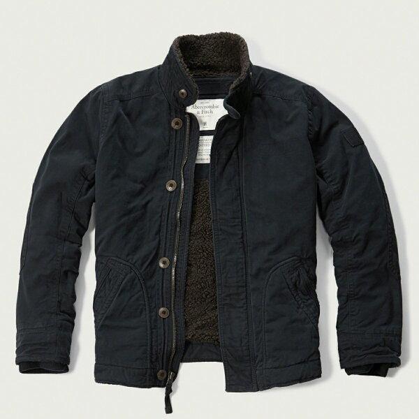 美國百分百【Abercrombie & Fitch】外套 AF 軍裝 夾克 麋鹿 鋪棉 刷厚毛 立領 深藍 XL號 F971