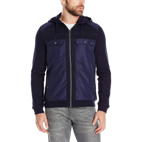 美國百分百【Calvin Klein】外套 CK 夾克 連帽 棉 尼龍 拼接 雙口袋 深藍 S號 G010