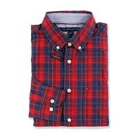 聖誕節禮物推薦到美國百分百【全新真品】Tommy Hilfiger 襯衫 TH 聖誕節 長袖 休閒 格紋 深藍 紅色 S號 G086
