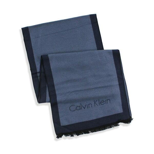 美國百分百【全新真品 】Calvin Klein 圍巾 CK 披肩 披巾 配件 人造絲 男 女 藍灰色 深藍 G201