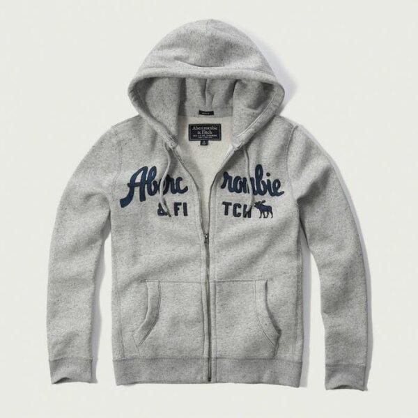 美國百分百【Abercrombie & Fitch】外套 AF 連帽 夾克 帽T 麋鹿 棉質 XS~XL 灰色 G244