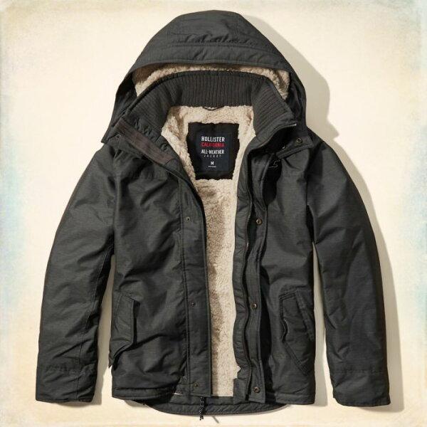 美國百分百【Hollister Co.】風衣 外套 HCO 鋪厚棉 連帽 夾克 海鷗 灰色 S L XL號 G248