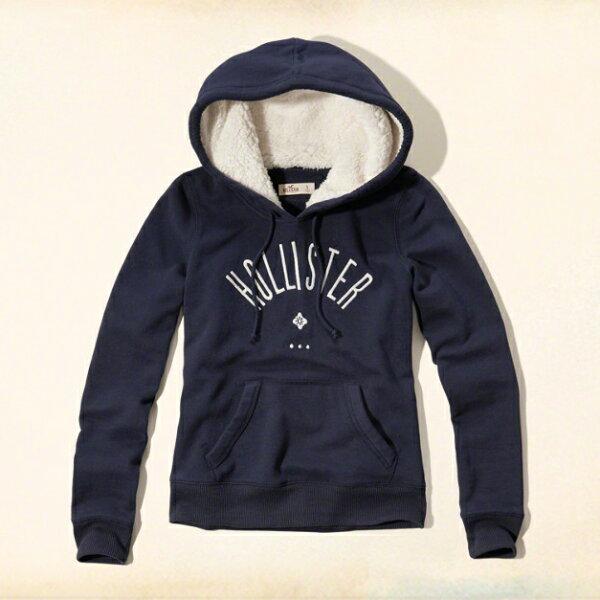 美國百分百【全新真品】Hollister Co. 帽T HCO 連帽 長袖 T恤 海鷗 刷厚毛 深藍 女 S號 G267